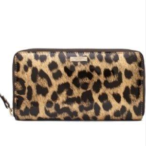 Kate Spade Snow Leopard Leather Zip Wallet